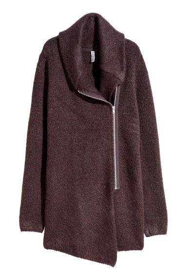 Bouclé cardigan - Burgundy - Ladies | H&M CN