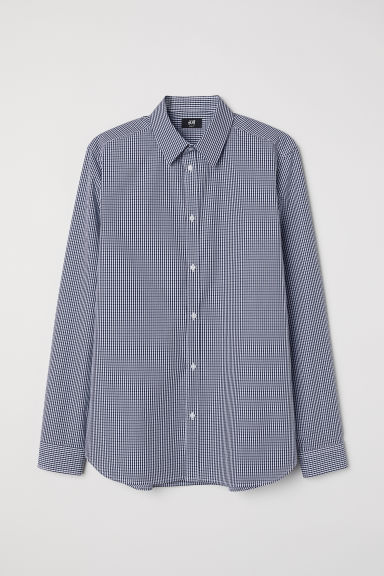 Cotton shirt Slim fit - White/Blue checked - Men | H&M