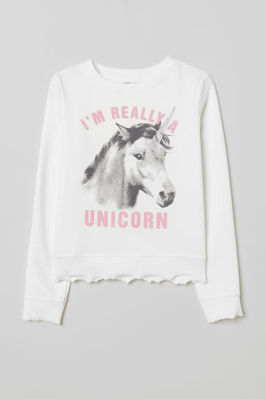 Sweatshirt with a motif - White/Unicorn - Kids | H&M CN