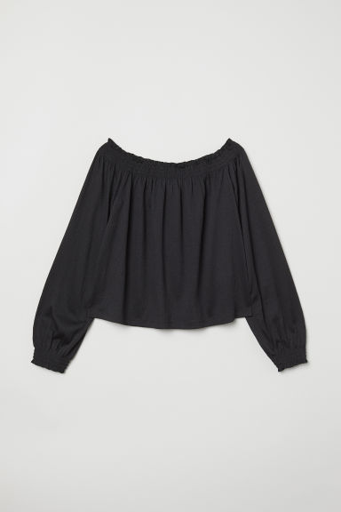 Off-the-shoulder blouse - Black - Ladies | H&M