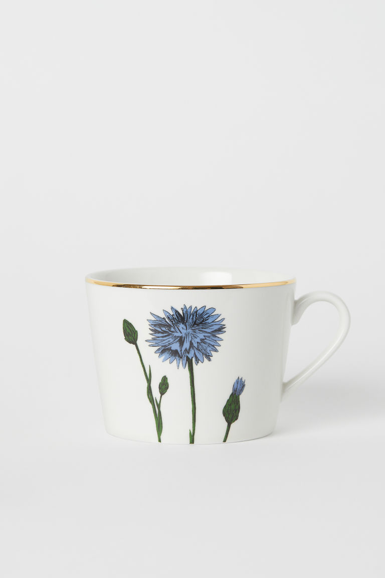 Porcelain mug with a motif - White/Cornflower - Home All | H&M GB
