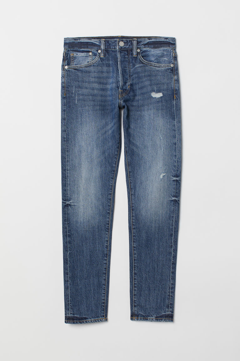 Slim Straight Jeans - Azul claro/Trashed - HOMBRE | H&M ES