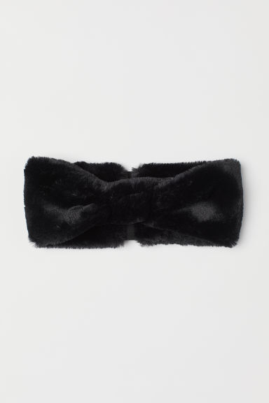 Faux fur hairband - Black -  | H&M CN