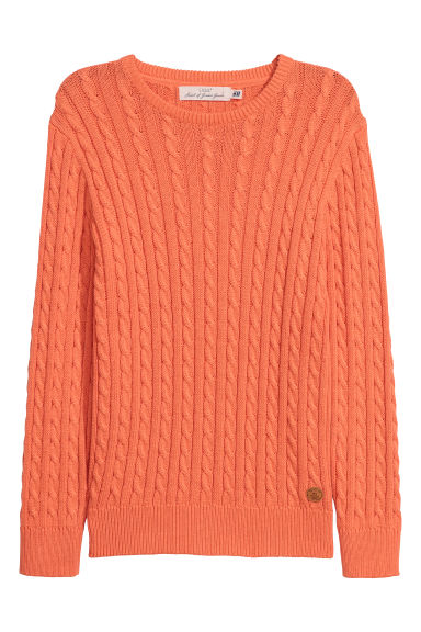 Cable-knit jumper - Orange - Kids | H&M