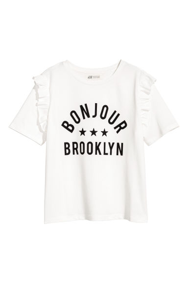 Frill-trimmed T-shirt - White - Kids | H&M