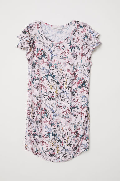 MAMA Top with flounced sleeves - Light pink/Floral - Ladies | H&M