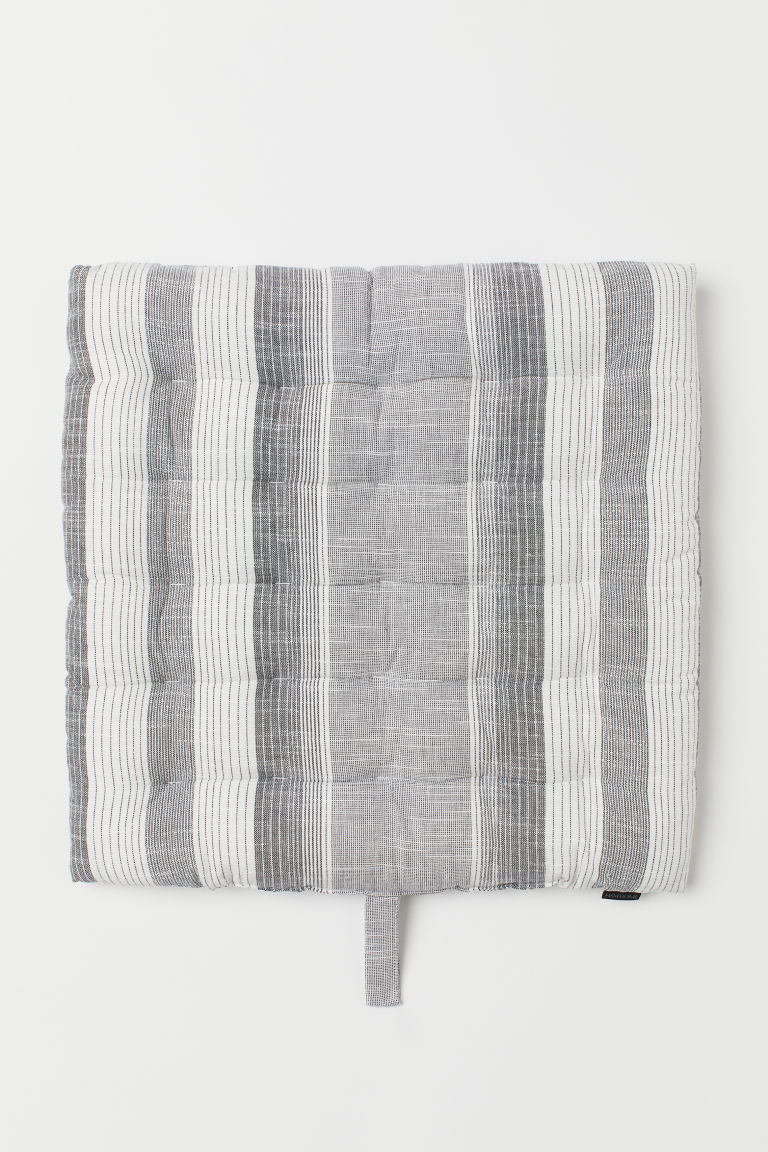 Striped cotton seat cushion - Dark grey/White striped -  | H&M GB