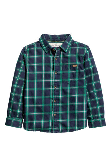 Camicia in cotone - Verde scuro/blu quadri -  | H&M IT