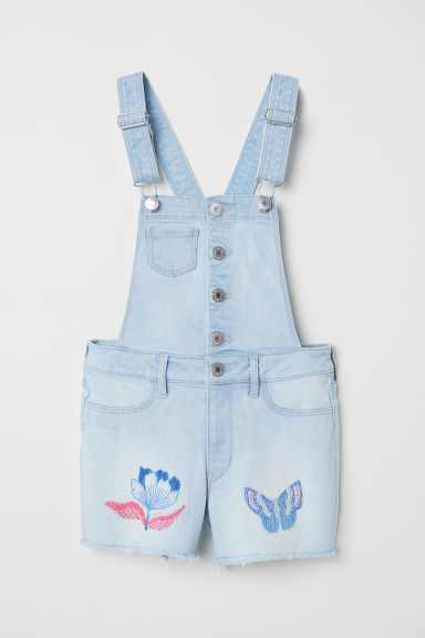 Embroidered dungaree shorts - Light blue denim -  | H&M