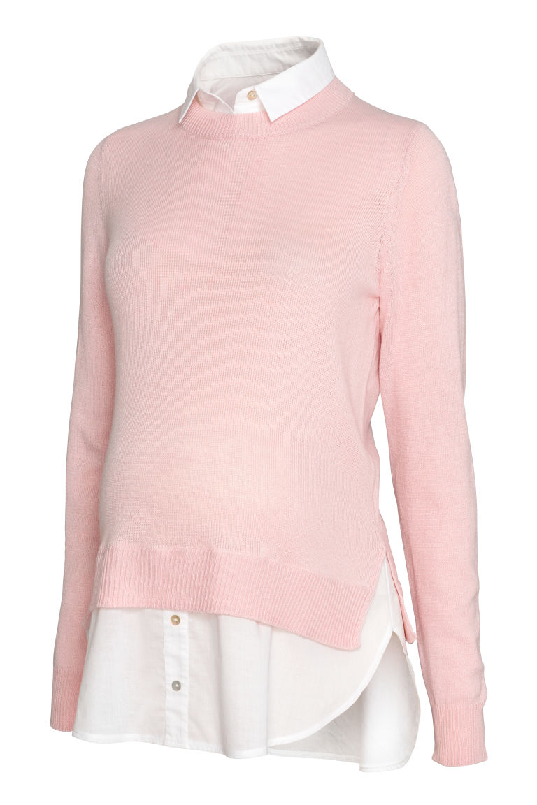 MAMA Shirt-collared jumper - Light pink/White - Ladies | H&M GB