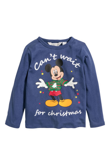 Printed jersey top - Dark blue/Mickey Mouse - Kids | H&M