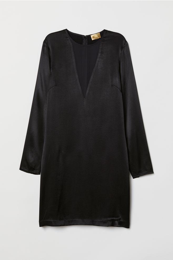 e23a6b61c318 Krátke saténové šaty - čierna - ŽENY