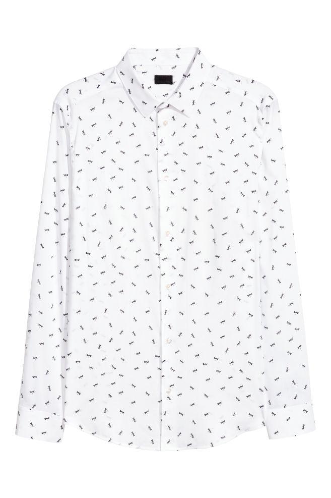 Camisa de popelina Slim fit - Blanco Estampado - HOMBRE  a61d210efcf