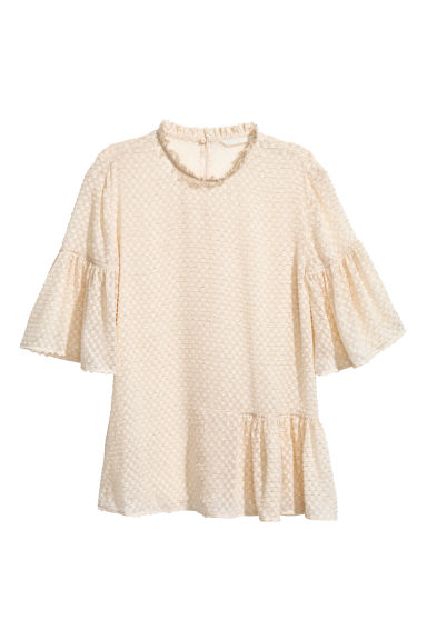 Flounced top - Natural white - Ladies | H&M