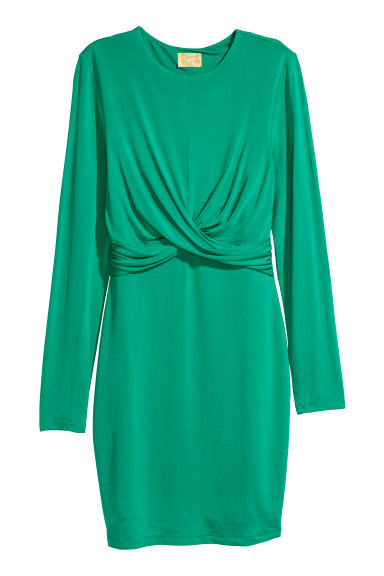 Draped jersey dress - Green - Ladies | H&M