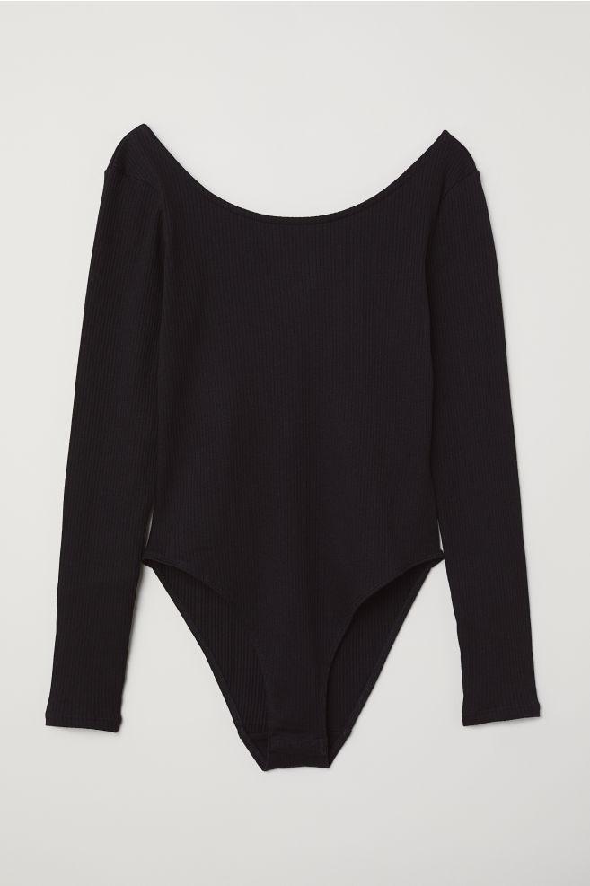 b67693c2b ... Long-sleeved Bodysuit - Black - | H&M ...