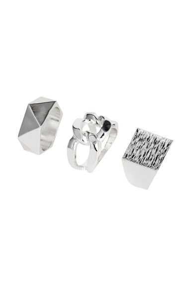 3-pack rings - Silver-coloured - Men | H&M