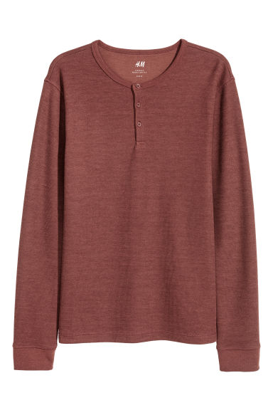 T-shirt à encolure boutonnée - Rouge rouille -  | H&M CA