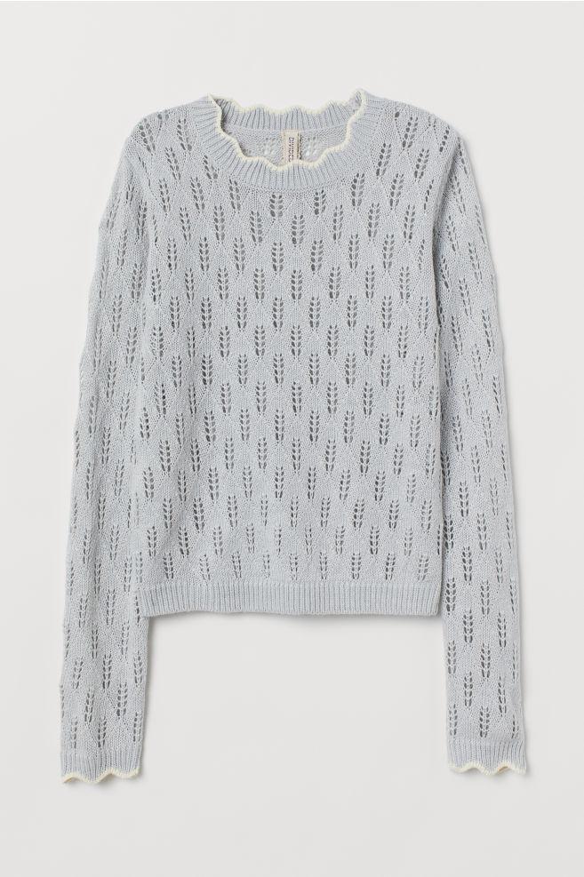 a7b32e504dda6 ... Pointelle-knit Sweater - Light gray-blue - Ladies