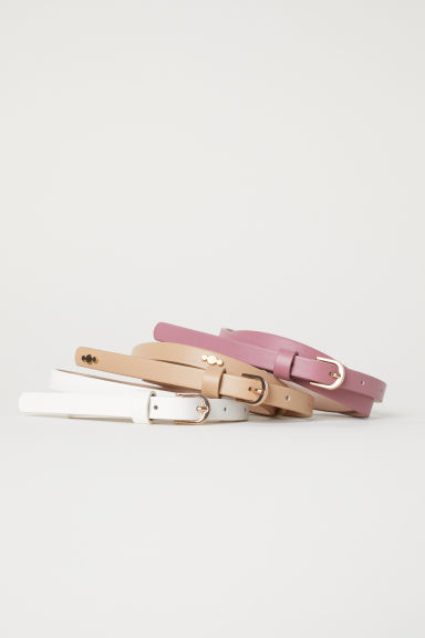 3-pack narrow belts - Beige/Vintage pink - Ladies | H&M CN