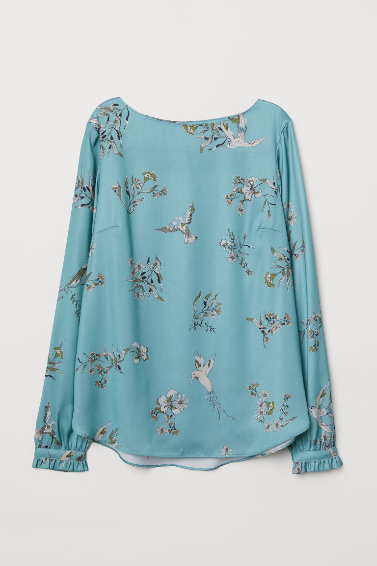 Satin boat-necked blouse - Turquoise/Patterned - Ladies | H&M