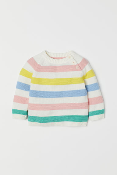 Fine-knit jumper - White/Multicoloured -  | H&M CN