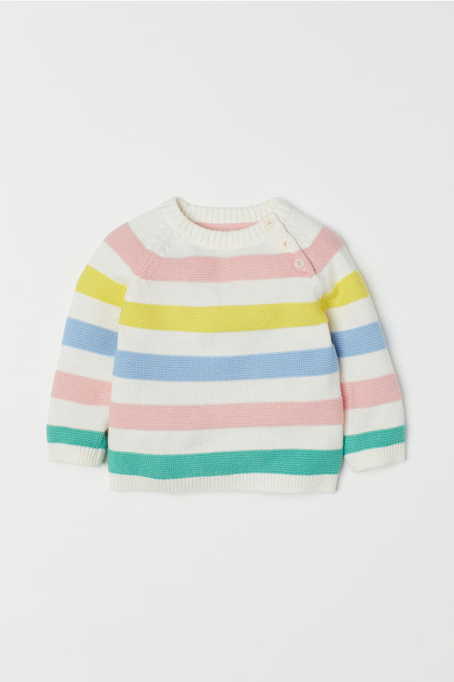309dbe28ae6f Fine-knit Sweater - White/multicolored - | H&M ...