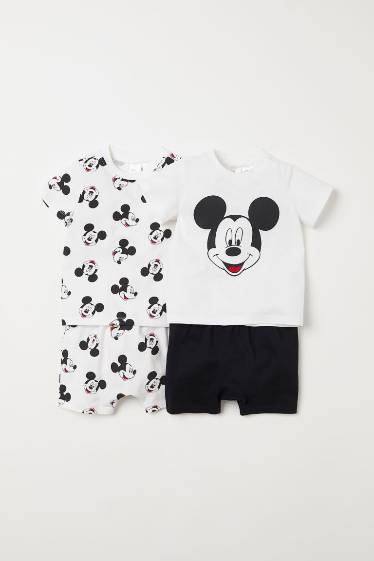 2-pack jersey pyjamas - White/Mickey Mouse - Kids | H&M