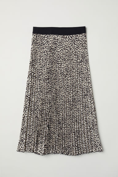Pleated skirt - Beige/Leopard print - Ladies | H&M GB