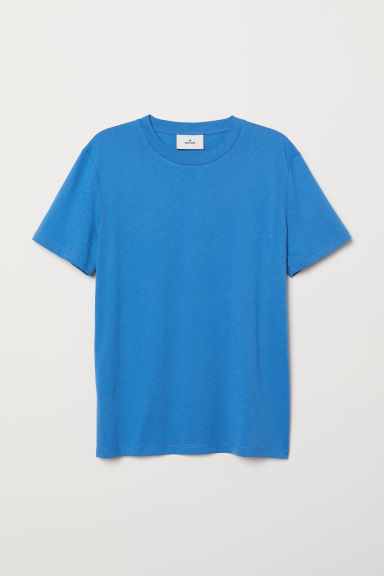 Cotton and silk T-shirt - Blue - Men | H&M