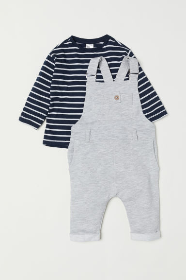 Dungarees and top - Dark blue/Striped - Kids | H&M