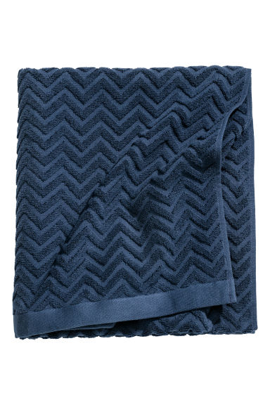 Jacquard-weave bath sheet - Dark blue - Home All | H&M CN