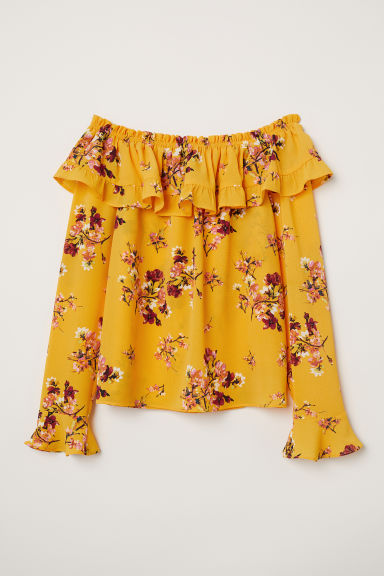 Off-the-shoulder blouse - Yellow/Floral - Ladies | H&M