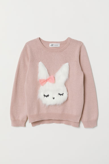 Jumper with a sequined motif - Old rose/Rabbit - Kids | H&M