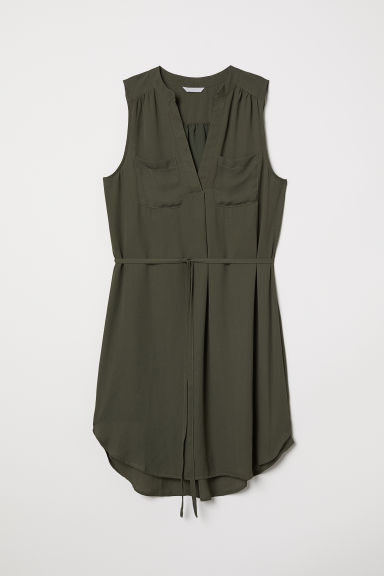 Crêpe dress - Dark khaki green - Ladies | H&M