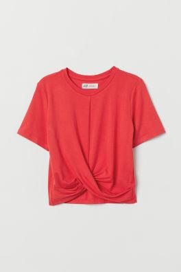 T-shirt med knytdetalj 653d816370fee