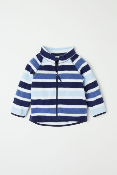 Fleece jacket - Dark blue/Striped - Kids | H&M