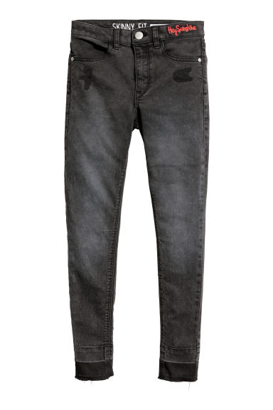 Pantalon en twill Skinny Fit - Noir washed out - ENFANT | H&M CH
