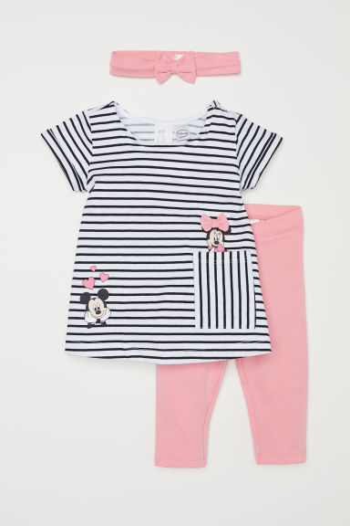 3-piece set - Light pink/Mickey Mouse - Kids | H&M CN