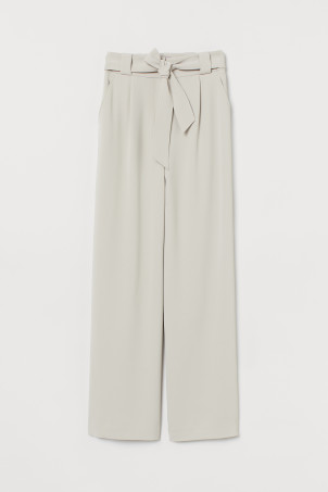 Trousers with a tie belt