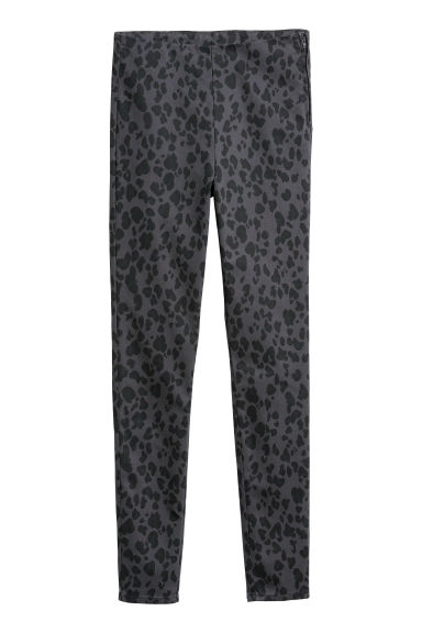 Twill trousers - Dark grey/Leopard print - Ladies | H&M CN