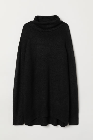 Knitted polo-neck jumper - Black - Ladies | H&M