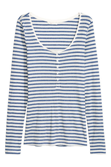Henley shirt - White/Blue striped - Ladies | H&M CN