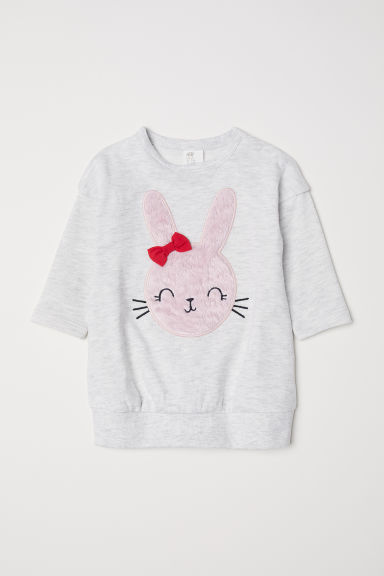 Dress with an appliqué - Light grey marl/Rabbit - Kids | H&M CN