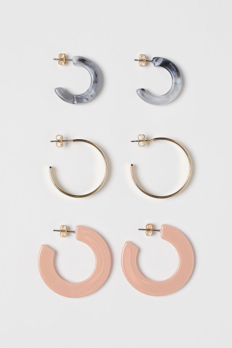 3 pairs earrings - Gold-coloured/Light pink - Ladies | H&M
