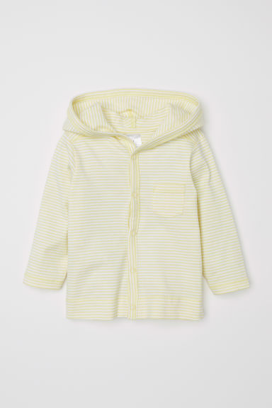 Jersey hooded cardigan - Light yellow/Striped - Kids | H&M CN