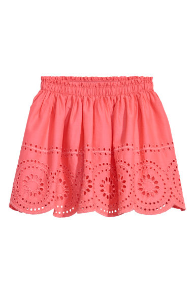 Skirt with a hole pattern - Coral red - Kids | H&M CN