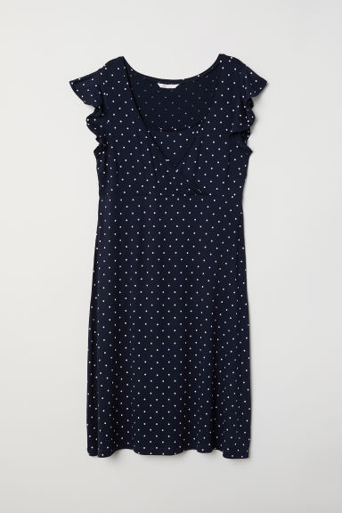 MAMA Nursing dress - Dark blue/White spotted -  | H&M CN