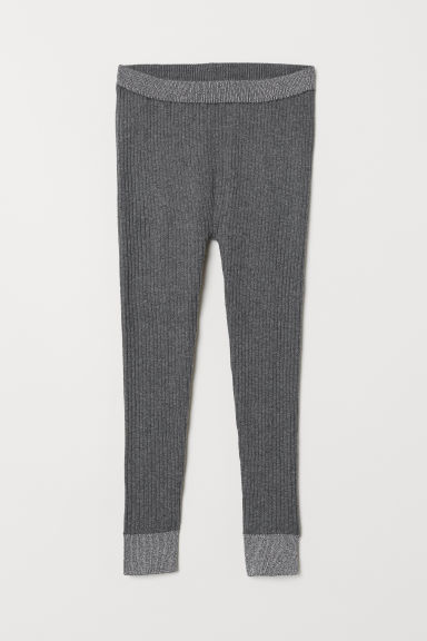 Ribbed leggings - Dark grey - Kids | H&M CN