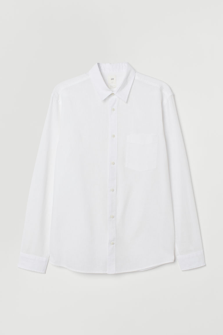 Linen-blend shirt Regular Fit - White -  | H&M